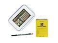 Geocache gross mit Logbuch und Stift